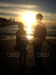 自然,風景,海,空,カップル,太陽,夕焼け,アメリカ,デート,サンディエゴ,ツーショット