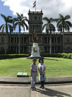 風景,建物,ハワイ,ツーショット,ハメハメハ大王像