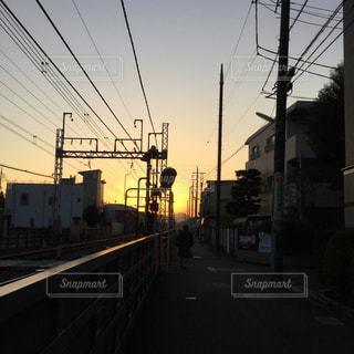 富士山,電車,夕焼け,線路,いつもの風景,千歳烏山