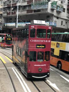 カラフル,路面電車,香港,街中