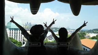 後ろ姿,観光地,マーライオン,シンガポール,ツアー