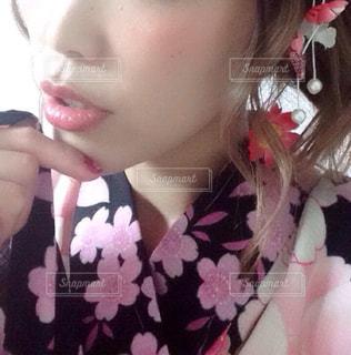 クローズ アップ撮影、selfie ピンクの髪を持つ女性の - No.850486