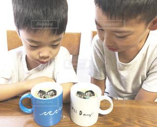 一杯のコーヒーをテーブルに座って若い男の子の写真・画像素材[1453677]
