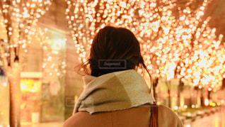 女性,1人,風景,冬,夜,大阪,後ろ姿,マフラー,樹木,イルミネーション,人,並木,照明,並木道,グランフロント大阪