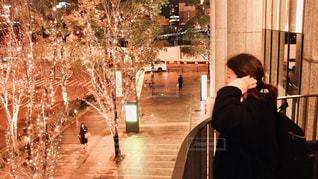 女性,1人,風景,冬,夜,大阪,樹木,イルミネーション,都会,横顔,人,通り,グランフロント大阪