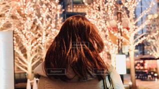 女性,1人,冬,夜,髪,大阪,後ろ姿,樹木,イルミネーション,人,照明,通り,グランフロント大阪