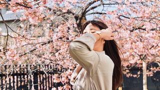 女性,1人,花,春,桜,木,屋外,花見,サクラ,お花見,人,イベント,風,ポーズ,さくら