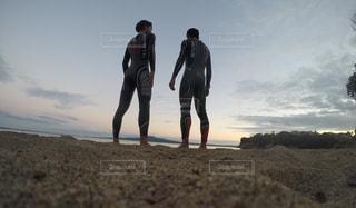 海,日の出,ツーショット