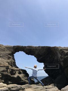 海,公園,青空,岩,ヨガ,トレーニング,遊歩道,馬の背洞門
