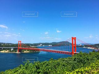 水の体の上の橋の上の大きな長い列車 - No.856260