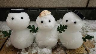 家族,3人,冬,雪,雪だるま