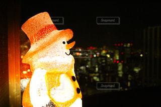 風景,冬,夜,夜景,雪,白,きれい,クリスマス,ゆきだるま,雪だるま