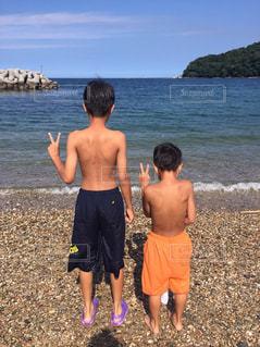海,夏,島,兄弟,焼けた肌