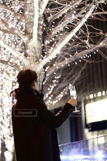 シャンパンを片手にイルミネーションを見ている女性の写真・画像素材[2959654]