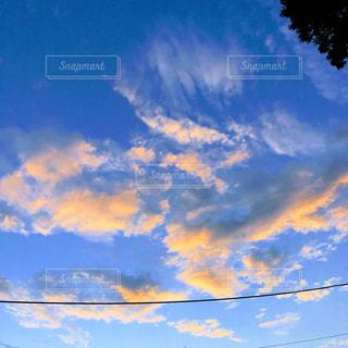 空,夕日,雲,夕焼け