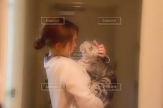 女性,猫,アメリカンショートヘア,娘,ツーショット
