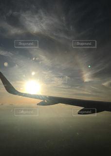 空,夕日,飛行機,夕陽,龍,スナップ