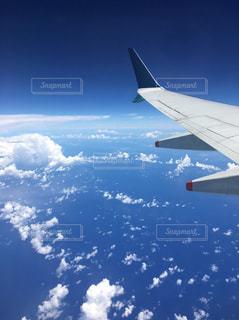 空,海外,雲,青,飛行機,観光,海外旅行,フライト