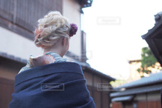 女性,京都,後ろ姿,女子,髪型,着物,ヘアアレンジ,編み込み,金髪