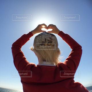 女性,風景,海,空,太陽,青空,女子,光,ハート