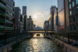 夕日,街並み,大阪,川,道頓堀