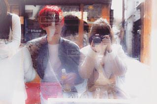 カメラ,赤,反射,ガラス,ツーショット