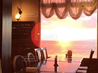 海,インテリア,レストラン,夕陽