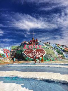 砂浜に落書きの写真・画像素材[1027259]