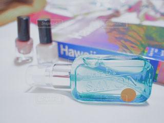 レールデュサボン ローズシャボン ジェル香水 イノセントタイム ブルーのボトルのアップの写真・画像素材[1175957]