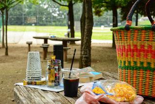 ピクニック用のテーブルの上に食べ物のトレイの写真・画像素材[1294135]