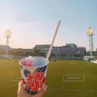 サッカー 観戦 応援 夏 かき氷 一杯のコーヒー、草の上に座ってカバー フィールドの写真・画像素材[1309215]