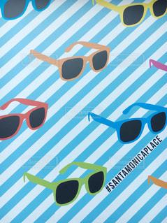 めがね メガネ 眼鏡 サングラス アメリカ サンタモニカ ウォールアートの写真・画像素材[1349778]