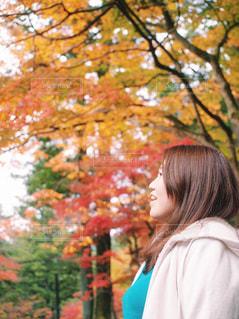 紅葉の前に立っている女性 モデル 20代 30代の写真・画像素材[1607125]