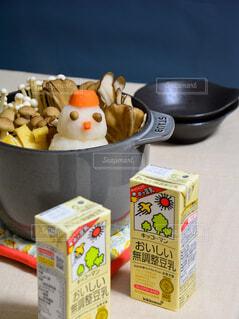 キッコーマン豆乳 ホッ豆乳 おいしい無調整豆乳 豆乳みぞれデコ鍋の写真・画像素材[3813110]