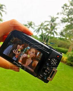 カメラ,女子,パイナップル,ツーショット