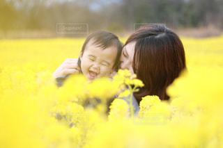 公園,春,親子,散歩,菜の花,男の子,ツーショット