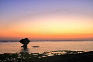 水の体に沈む夕日の写真・画像素材[1227044]