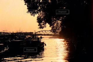 川沿いの夕陽の写真・画像素材[966380]