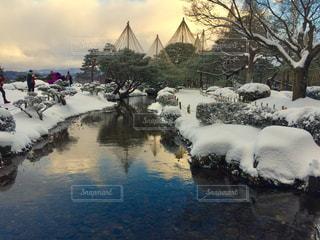 綺麗な庭に雪と夕焼け - No.984056