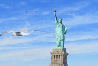 揺れる自由の女神🗽とかもめの写真・画像素材[1113591]
