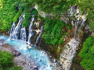 コバルトブルーの白鬚の滝の写真・画像素材[1491157]