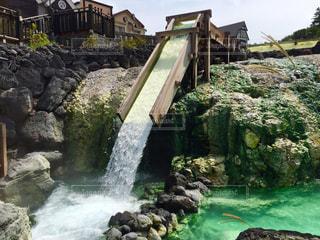 湯畑からの滝の写真・画像素材[1491393]