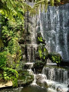 しずくのカーテンのような滝の写真・画像素材[1491489]