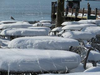雪の海沿いのカフェテラスの写真・画像素材[1683910]