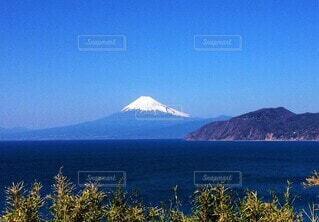 駿河湾越しの富士山の写真・画像素材[4127939]