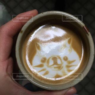 コーヒーを飲みな猫のラテアート初挑の写真・画像素材[2943367]