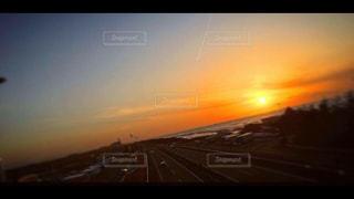 海,夕日,雲,高速道路,道,飛行機雲,イマソラ,徳光,徳光パーキングエリア(上下線)
