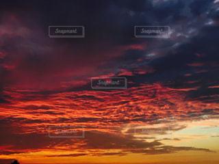 空,夏,夕日,赤,雲,綺麗,夕焼け,夕陽,燃える,もくもく