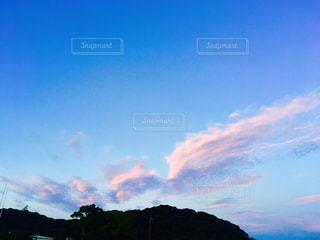 空,秋,ピンク,雲,水色,夕方,山,秋空,浜名湖