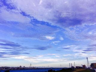 空,秋,雲,川,水色,夕方,山,高速道路,サイクリング,秋空,江東区,江戸川区